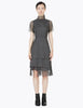 cap sleeve dress with high collar and paneled skirt