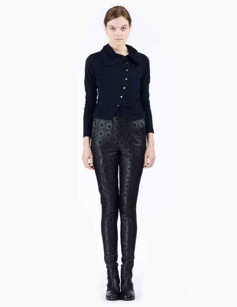 embroidered eco leather leggings