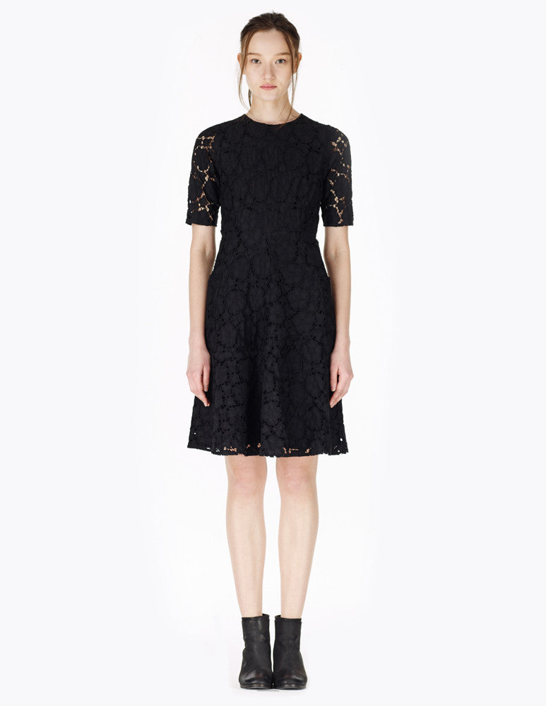 short lace dress with short sleeves and pleated skirt
