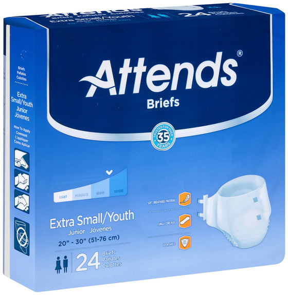 Attends® Breathable Briefs Extra Absorbency size small/youth
