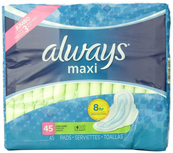 Always Maxi Unscented Pads with Wings, Long/Super