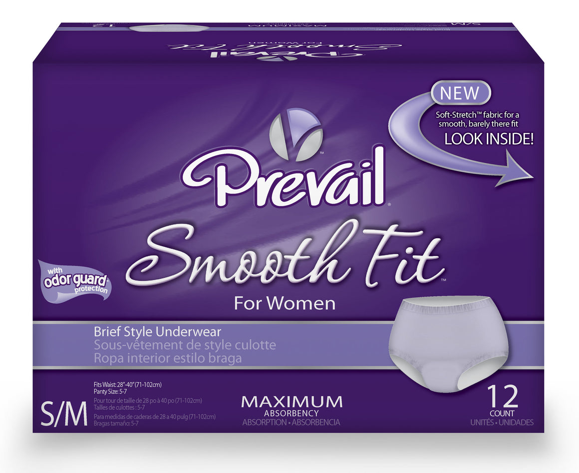 Prevail® SmoothFit™ For Women Incontinence Briefs, size small/medium