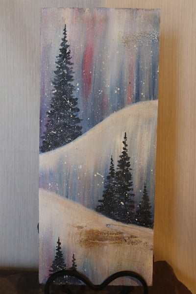 Winter Scene Hand Painted Reclaimed Wood Sign
