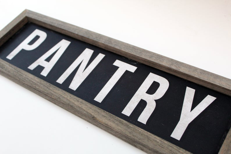 Rustic Black Framed Metal Pantry Sign