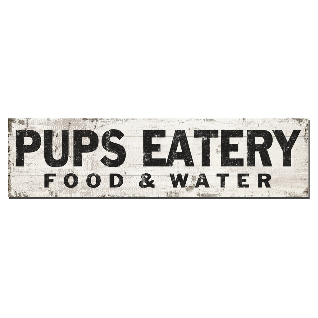 Pup's Eatery | Faux White Wood With Edging