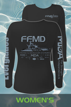 Women's Long Sleeve FFMD Boat Performance Shirt (Dri-Fit)- Black