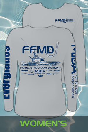 Women's Long Sleeve FFMD Boat Performance Shirt (Dri-Fit)- Grey/Navy
