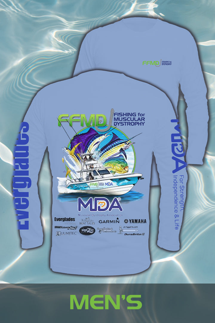 Long Sleeve FFMD Boat Sailfish Marlin Performance Shirt (Dri-Fit)- Blue