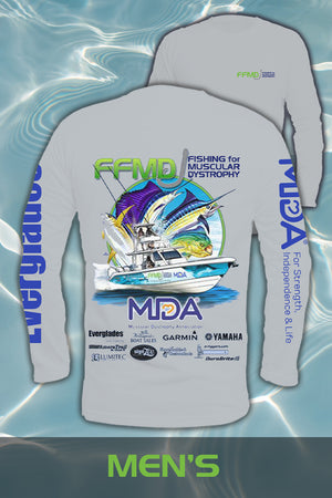 Long Sleeve FFMD Boat Sailfish Marlin Performance Shirt (Dri-Fit)- Grey