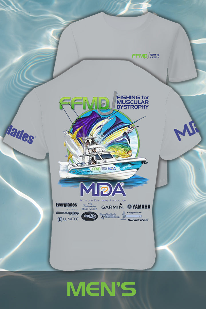 Short Sleeve FFMD Boat Sailfish Marlin Performance Shirt (Dri-Fit)- Grey
