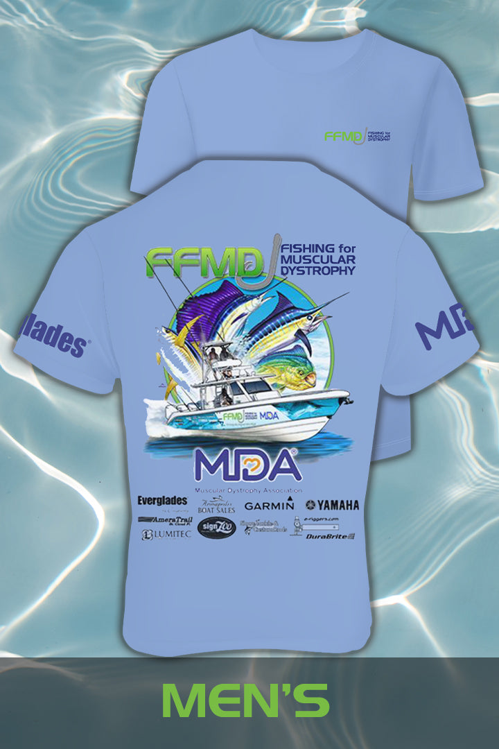 Short Sleeve FFMD Boat Sailfish Marlin Performance Shirt (Dri-Fit)- Blue