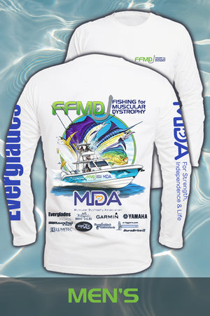 Long Sleeve FFMD Boat Sailfish Marlin Performance Shirt(Dri-Fit)- White
