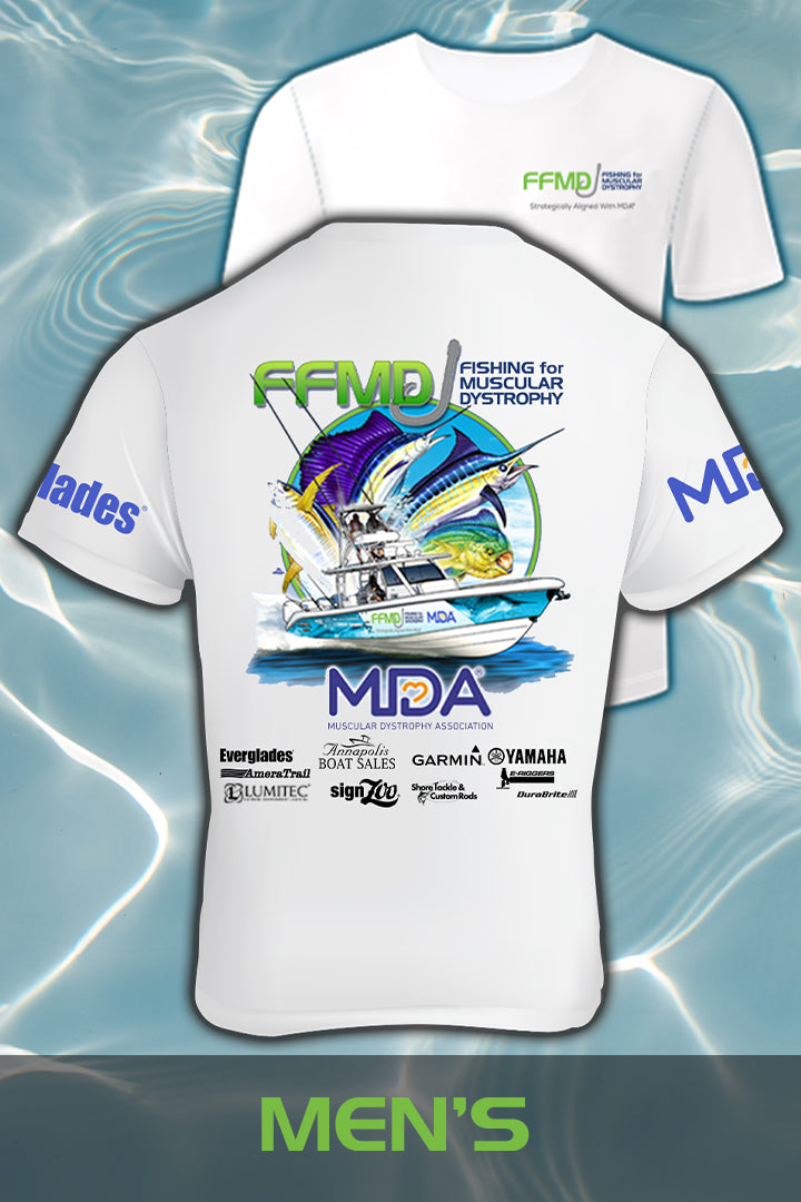 Short Sleeve FFMD Boat Sailfish Marlin Performance Shirt (Dri-Fit)- White