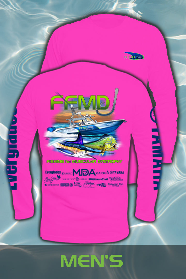 Long Sleeve FFMD Boat Marlin Dolphin Performance Shirt  (Dri-Fit) - Bright Pink