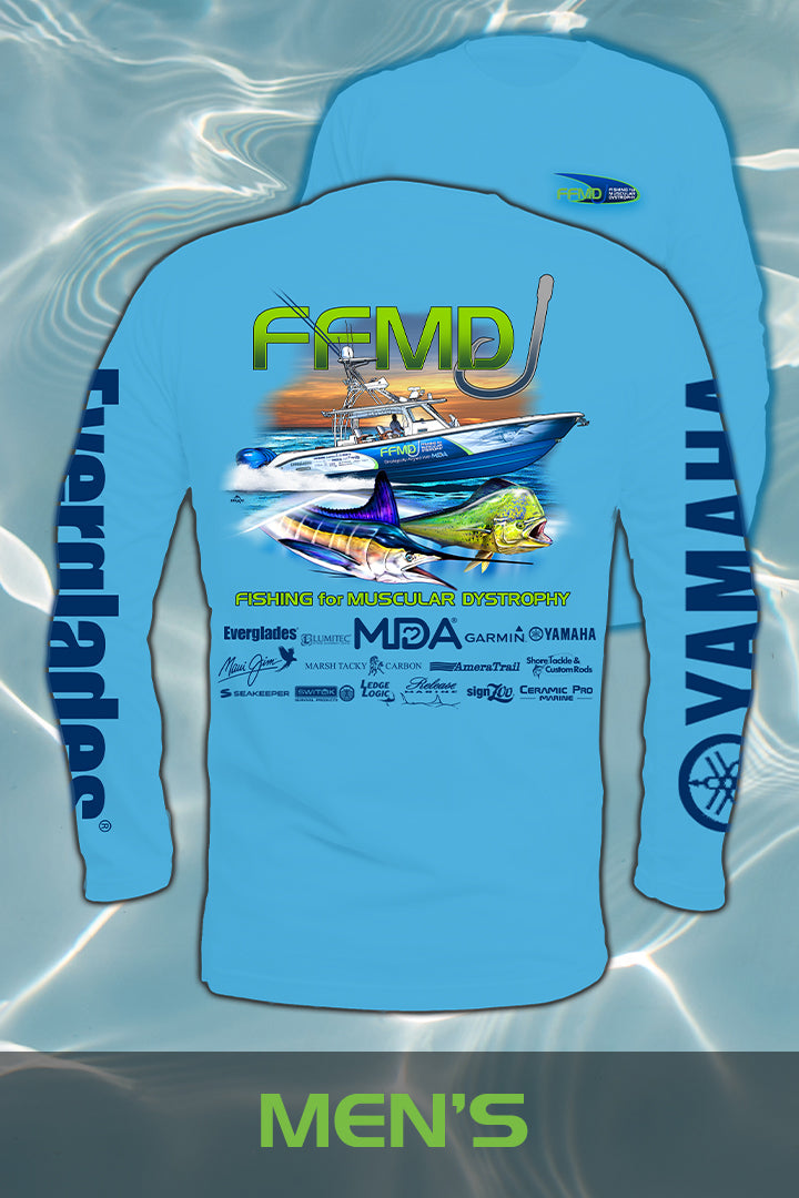 Long Sleeve FFMD Boat Marlin Dolphin Performance Shirt (Dri-Fit) - Blue