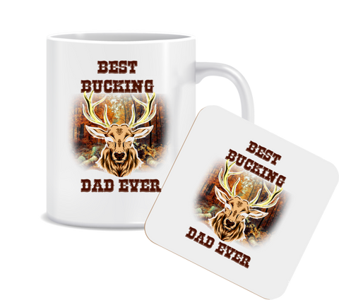 Best Bucking Dad Ever Mug and Coaster Set