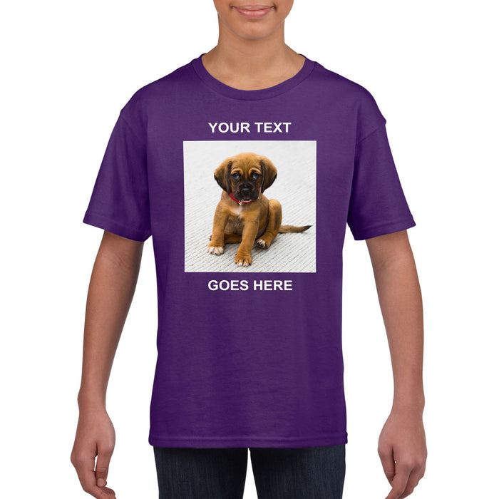 Kid's T-Shirt (Photo Upload with Text) - Personalised Custom Print Products Fun Printz Gainsborough