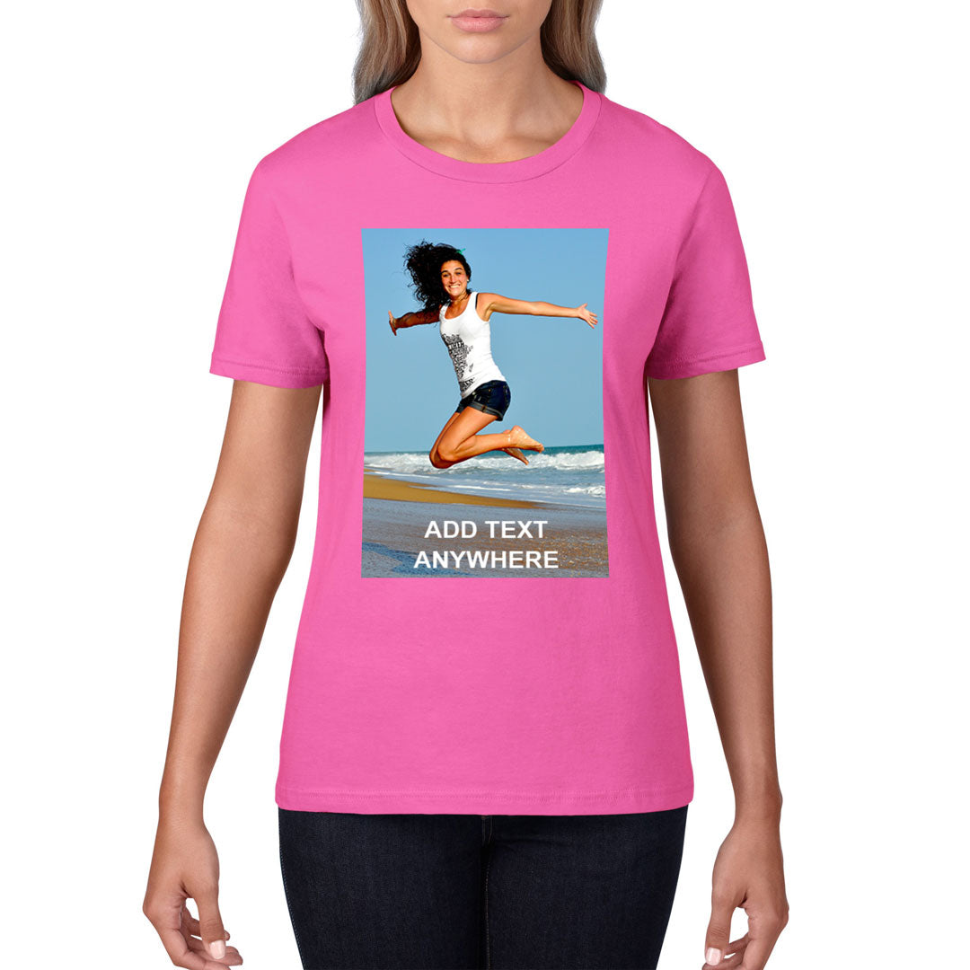 Women's T-Shirt (Photo Upload with Text Overlay) - Personalised Custom Print Products Fun Printz Gainsborough