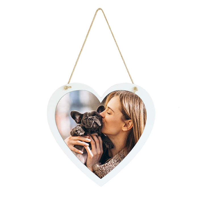 Hanging Sign Heart with Photo 21 X 21CM