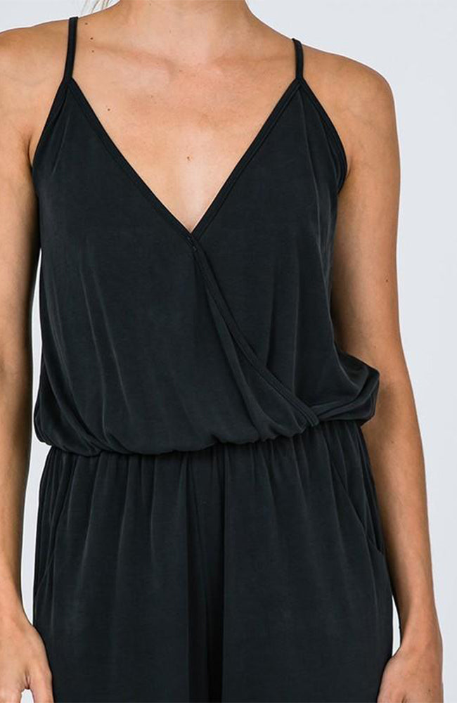 shop rompers - Black spaghetti strap best selling jumpsuit romper