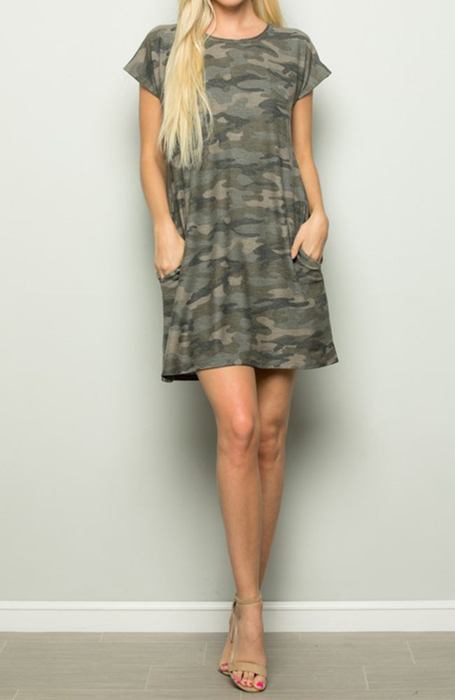 Camo T-Shirt Dress With Pockets