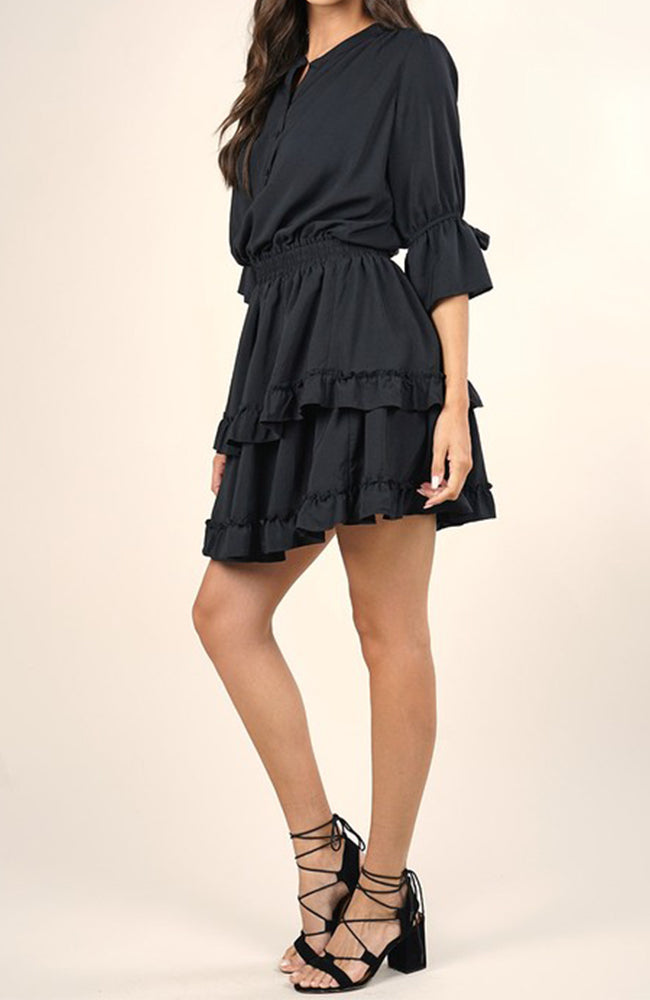 Mini Ruffle Dress in Black by Love Stitch