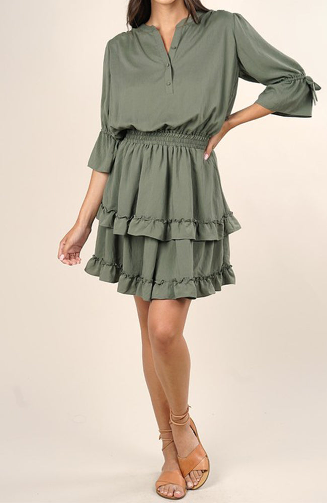 Mini Ruffle Dress in Olive