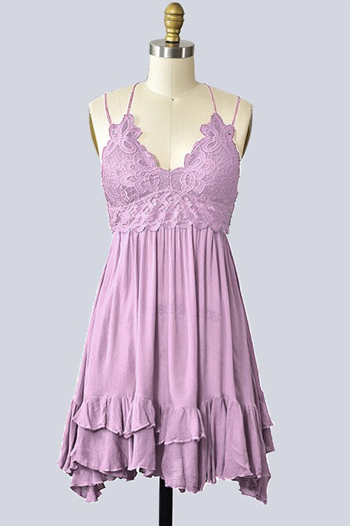 Crochet Bralette Slip Dress in Lavender