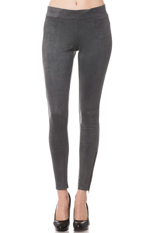 Vegan Suede Leggings In Grey With Ankle Zips