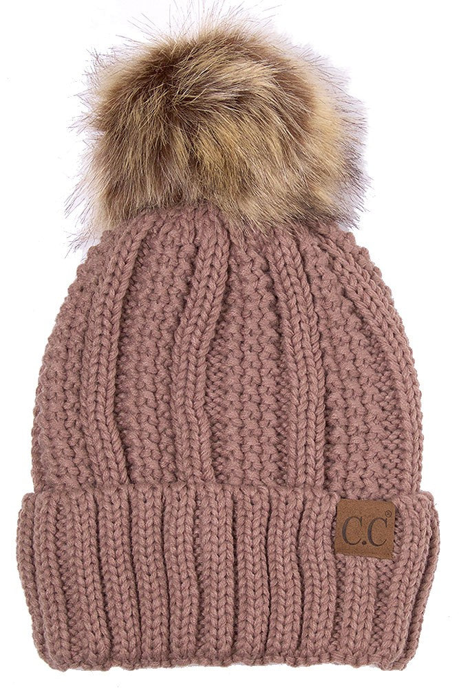 CC Beanie with Faux Fur Pom Pom In Taupe
