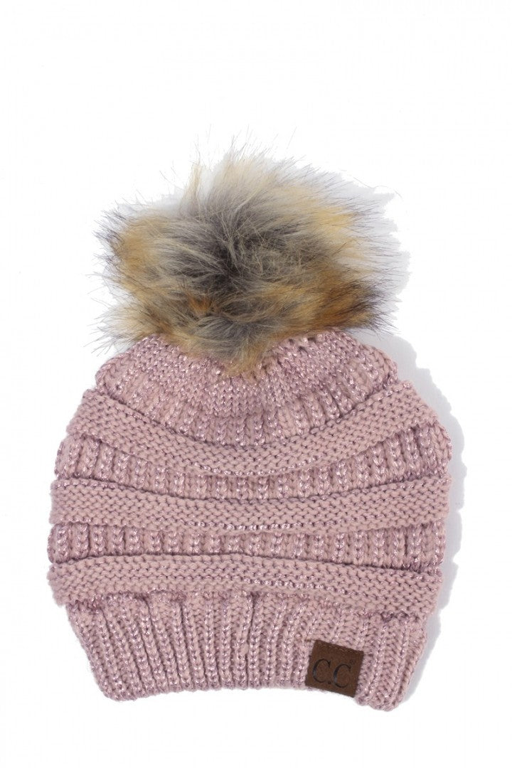 CC Beanie with Faux Fur Pom Pom In Rose