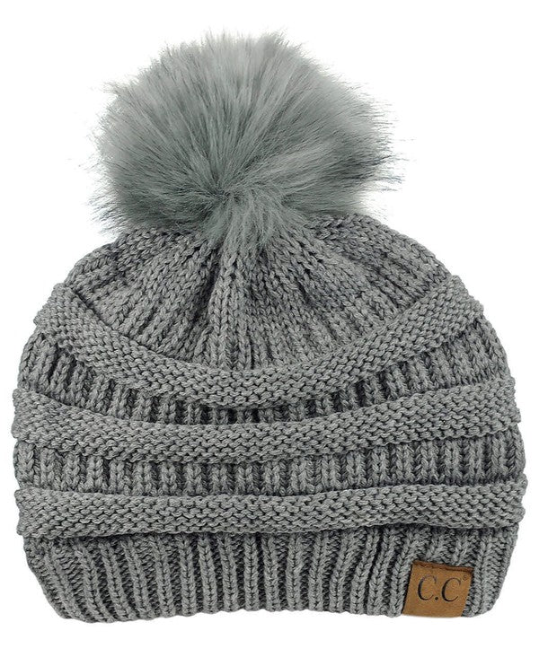Grey Is Great CC Beanie with Faux Fur Pom Pom