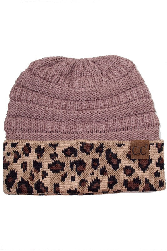 CC Beanie In Taupe With Leopard Trim