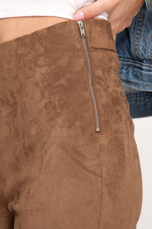 Vegan Suede Leggings In Chestnut With Side Zip At Waistline