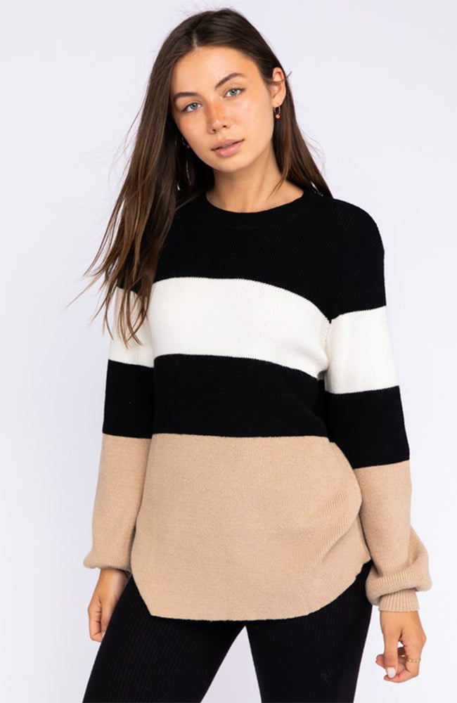 Neutral Color Block Tunic Sweater With Balloon Sleeves