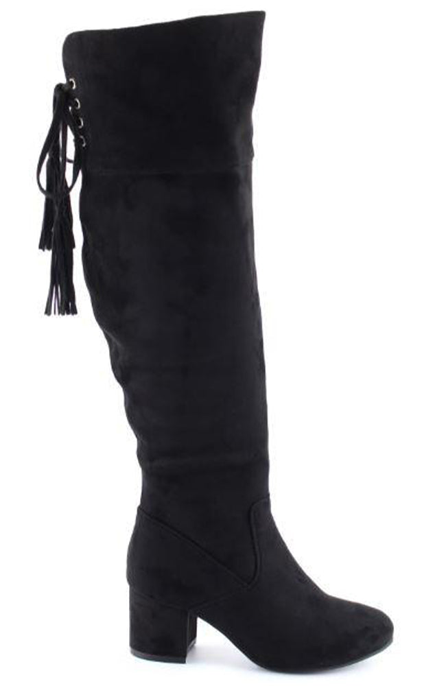 Black Over The Knee Faux Suede Lace Up Boots