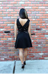 Black Lace Cocktail Dress With V Neck And Flounce Skirt
