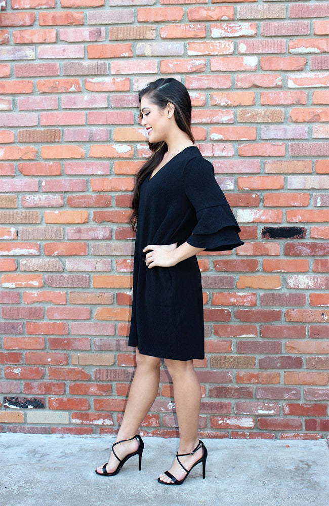 Ruffle Sleeve Shift Dress In Black