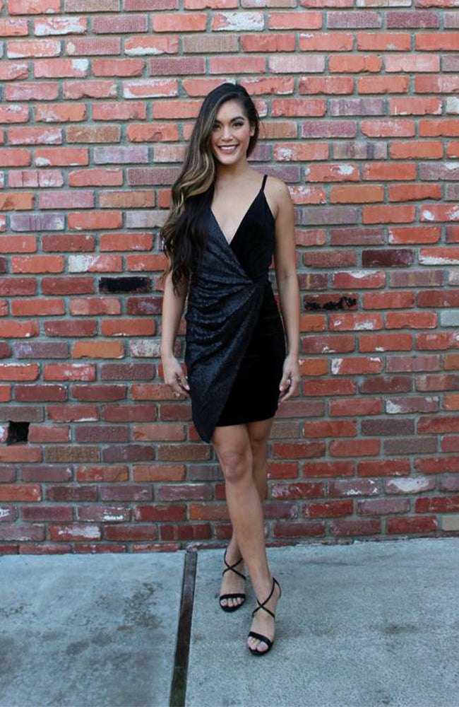 Asymmetrical Bodycon Cocktail Dress In Black Velvet With Black Sequins