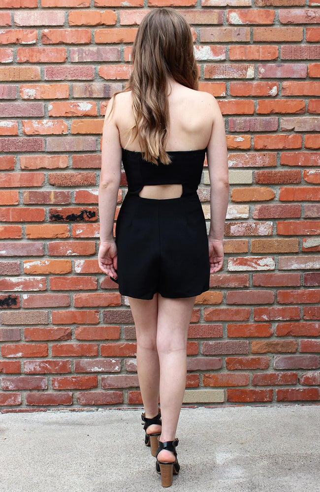 Black Strapless Romper With Cutout Design