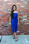 Midi Sheath Dress With Twist Accent Detail In Royal Blue