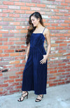 Blue Ribbed Velvet Jumpsuit With Wide Leg Culotte Design