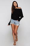 Off The Shoulder Black Love Stitch Waffle Knit Sweater
