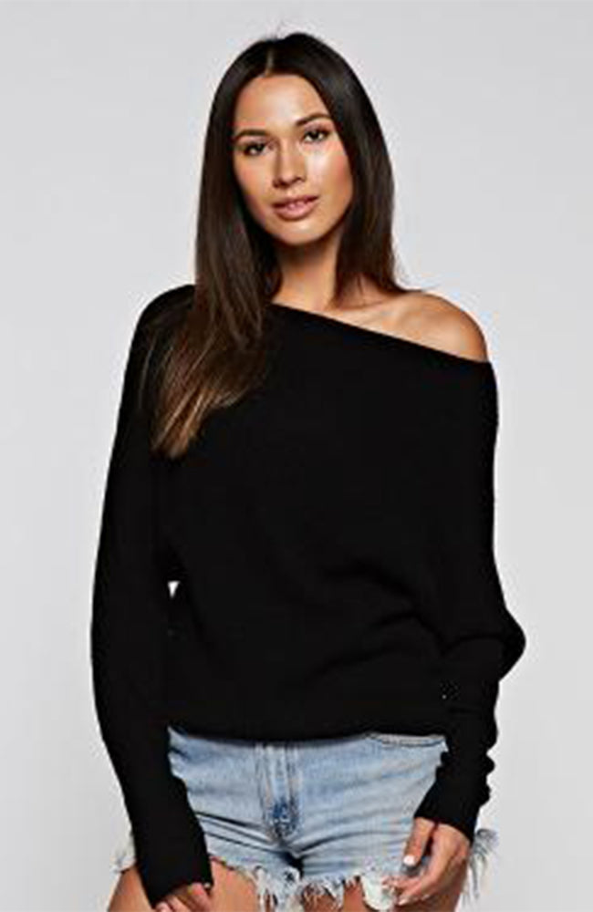 Boat Neck Off The Shoulder Black Love Stitch Sweater