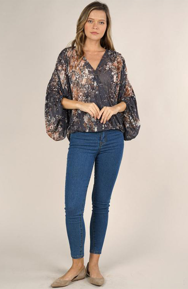 Grey Floral Sheer Surplice Blouse By Love Stitch