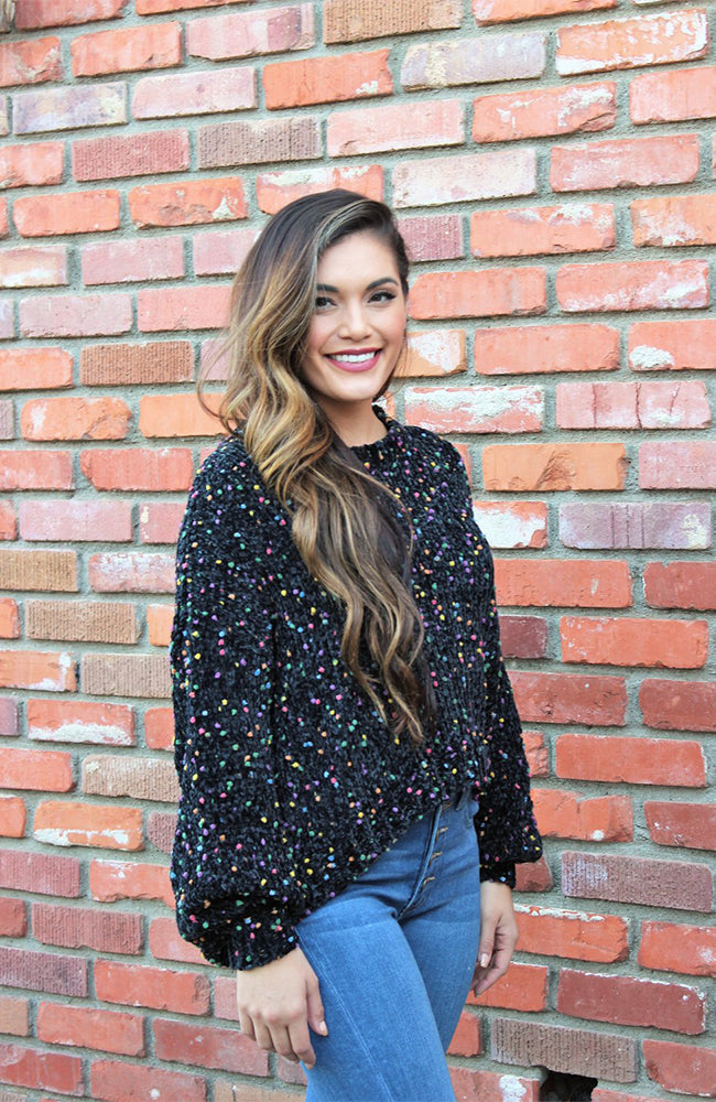 Sprinkles Funfetti Sweater In Black Chenille