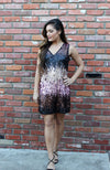 Black, Gold, And Pink Sequin Ombre Cocktail Dress