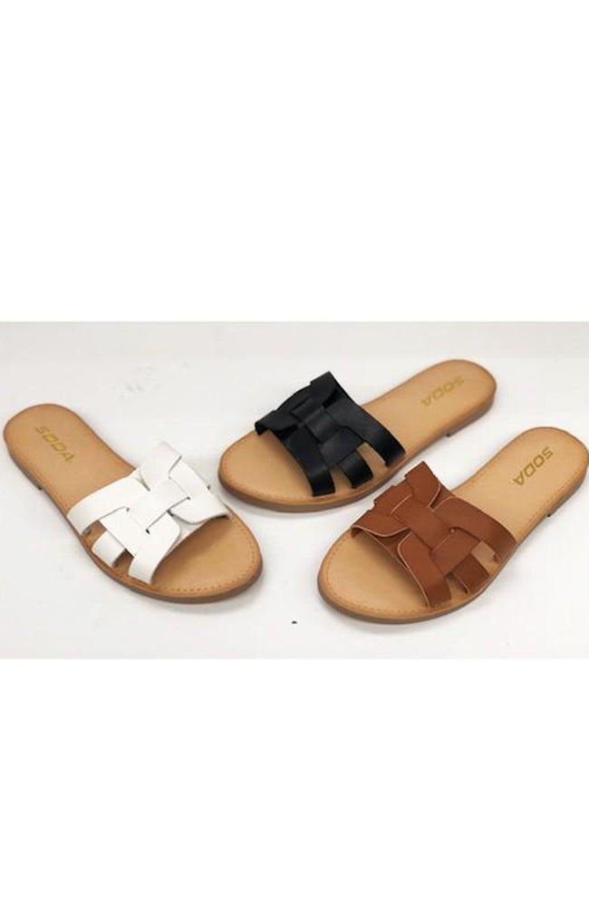 Woven Slide Sandals In Tan