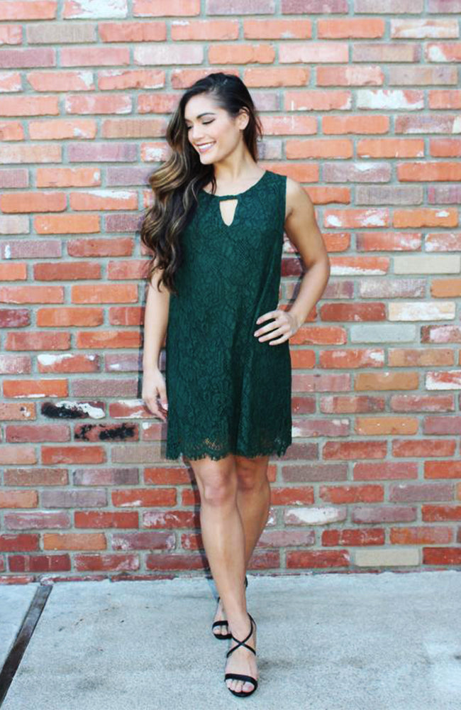 Lovely in Lace Green Shift Dress