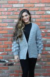 Hand Knit Pom Pom Sweater in Grey